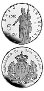 Image of 5 euro coin Expo Shanghai 2010 | San Marino 2010.  The Silver coin is of Proof quality.