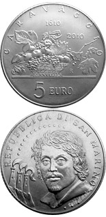 Image of a coin 5 euro | San Marino | 200th Anniversary of the death of Caravaggio | 2010