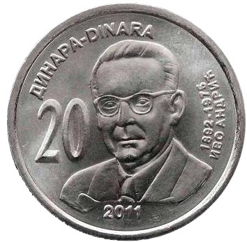 20 dinars Ivo Andric  - 2011 - Series: Commemorative 20 dinar coins - Serbia