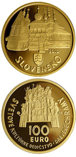 100 euro coin UNESCO World Heritage – Wooden Temples in the Slovak Part of the Carpathian Arch  | Slovakia 2010