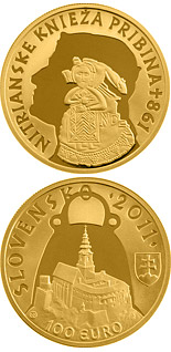 100 euro coin Ruler of the Nitrian Principality Pribina  - the 1150th anniversary of the death  | Slovakia 2011