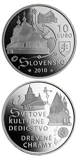 Image of 10 euro coin UNESCO World Heritage – Wooden Temples in the Slovak Part of the Carpathian Arch  | Slovakia 2010.  The Silver coin is of Proof, BU quality.