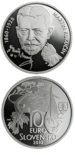 10 euro Martin Kukučín – the 150th Anniversary of the Birth  - 2010 - Series: Silver 10 euro coins - Slovakia