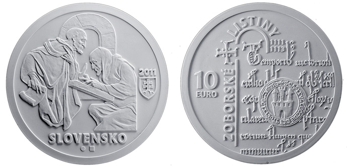 10 euro Documents of Zobor - the 900th anniversary of the origin  - 2011 - Series: Silver 10 euro coins - Slovakia