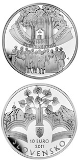 Image of 10 euro coin - Memorandum of the Slovak Nation - the 150th anniversary of the adoption  | Slovakia 2011.  The Silver coin is of Proof, BU quality.