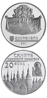 Image of 20 euro coin - Historical Preservation Area of Trnava  | Slovakia 2011.  The Silver coin is of Proof, BU quality.