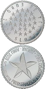 Image of 30 euro coin – Presidency of the European Union | Slovenia 2008.  The Silver coin is of Proof quality.