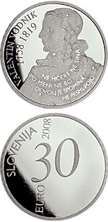 Image of 30 euro coin - 250th anniversary of the birth of Valentin Vodnik | Slovenia 2008.  The Silver coin is of Proof quality.