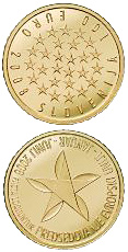 Image of 100 euro coin - Presidency of the European Union | Slovenia 2008.  The Gold coin is of Proof quality.