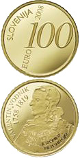 100 euro 250th anniversary of the birth of Valentin Vodnik - 2008 - Series: Gold 100 euro coins - Slovenia