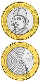 Image of 3 euro coin – The centenary of the first flight by a powered aircraft over Slovenia  | Slovenia 2009.  The Bimetal: CuNi, nordic gold coin is of UNC quality.