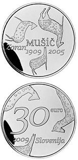 30 euro coin The centenary of the birth of painter Zoran Mušič  | Slovenia 2009