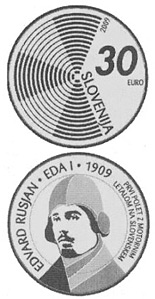 Image of 30 euro coin - The centenary of the first flight by a powered aircraft over Slovenia  | Slovenia 2009.  The Silver coin is of Proof quality.