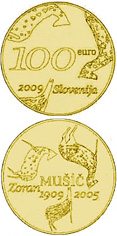 100 euro The centenary of the birth of painter Zoran Mušič  - 2009 - Series: Gold 100 euro coins - Slovenia
