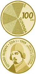 Image of 100 euro coin - The centenary of the first flight by a powered aircraft over Slovenia  | Slovenia 2009.  The Gold coin is of Proof quality.