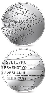 Image of World Rowing Championships Bled 2011 – 30 euro coin Slovenia 2011.  The Silver coin is of Proof quality.