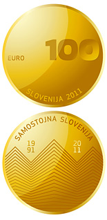 100 euro 20th anniversary of Slovenia's independence - 2011 - Series: Gold 100 euro coins - Slovenia