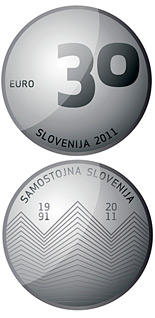 30 euro 20th anniversary of Slovenia's independence - 2011 - Series: Silver 30 euro coins - Slovenia
