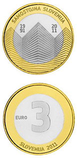 3 euro coin 20th anniversary of Slovenia's independence | Slovenia 2011