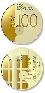 100 euro World Book Capital City - 2010 - Series: Gold 100 euro coins - Slovenia