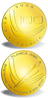 100 euro coin Ski Flying World Championships  | Slovenia 2010