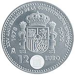 12 euro 25th Anniversary of the Spanish Constitution - 2003 - Series: Silver 12 euro and 20 euro coins - Spain