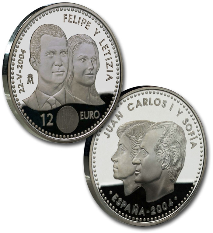 12 euro Felipe and Letizia - 2004 - Series: Silver 12 euro and 20 euro coins - Spain