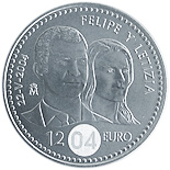 12 euro coin Felipe and Letizia | Spain 2004