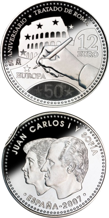 12 euro 50th Anniversary of the Treaty of Rome  - 2007 - Series: Silver 12 euro and 20 euro coins - Spain