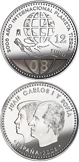 Image of 12 euro coin – International Year of Planet Earth  | Spain 2008.  The Silver coin is of BU, UNC quality.
