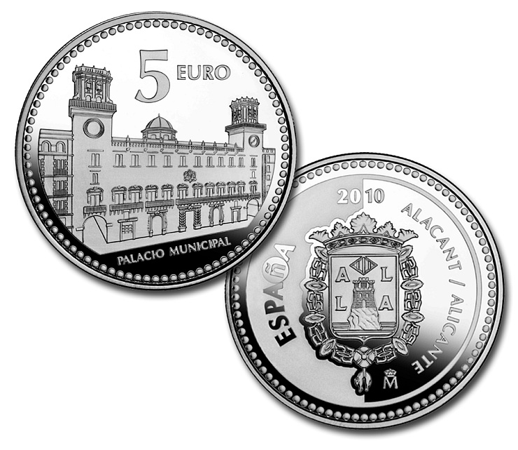 Image of 5 euro coin - Alacant | Spain 2010.  The Silver coin is of Proof quality.