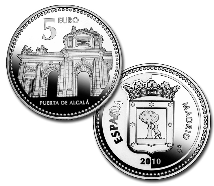 Image of Madrid – 5 euro coin Spain 2010.  The Silver coin is of Proof quality.