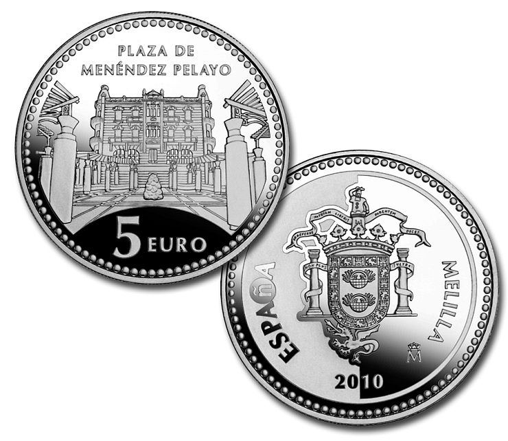 Image of 5 euro coin Melilla | Spain 2010.  The Silver coin is of Proof quality.