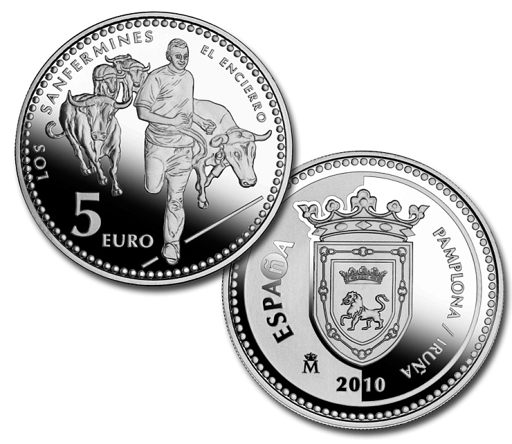 Image of Pamplona – 5 euro coin Spain 2010.  The Silver coin is of Proof quality.