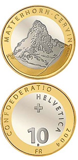 Image of 10 francs coin - Matterhorn – Cervin | Switzerland 2004.  The Bimetal: CuNi, nordic gold coin is of Proof, BU quality.