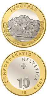 Image of 10 francs coin - Jungfrau | Switzerland 2005.  The Bimetal: CuNi, nordic gold coin is of Proof, BU quality.