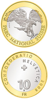 10 franc coin Swiss National Parc – Golden eagle | Switzerland 2008