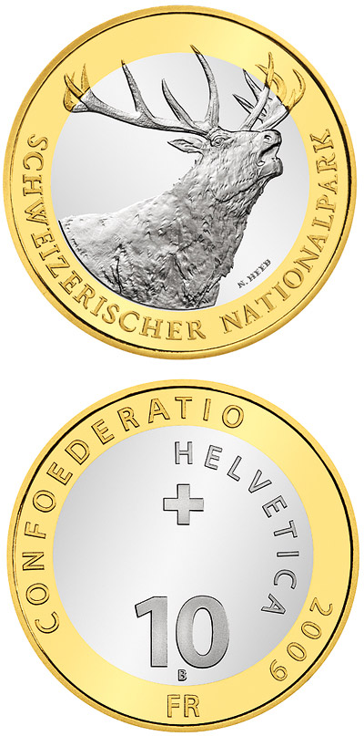 10 francs Swiss National Parc – Red Deer - 2009 - Series: Bimetal 10 francs coins - Switzerland