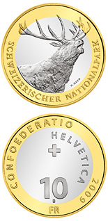 10 franc coin Swiss National Parc – Red Deer | Switzerland 2009