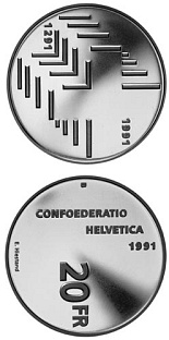 20 francs 700th anniversary of the Swiss Confederation - 1991 - Series: Silver 20 francs coins - Switzerland
