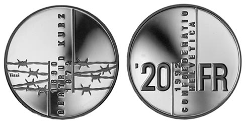 20 francs Gertrud Kurz - 1992 - Series: Silver 20 francs coins - Switzerland
