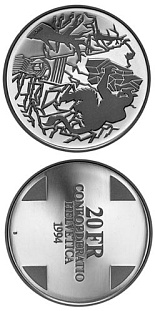 20 francs Devil's Bridge (Landscapes) - 1994 - Series: Silver 20 francs coins - Switzerland
