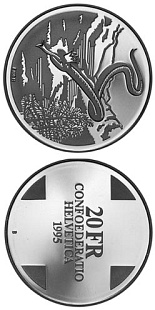 20 franc coin Snakequeen of the Grisons (Landscapes) | Switzerland 1995