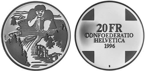 20 francs Giant Gargantua (Landscapes) - 1996 - Series: Silver 20 francs coins - Switzerland