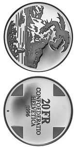 20 francs Dragon of Breno (Landscapes) - 1996 - Series: Silver 20 francs coins - Switzerland