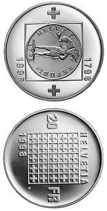 Image of a coin 20 francs | Switzerland | 200th anniversary of the Helvetic Republic | 1998