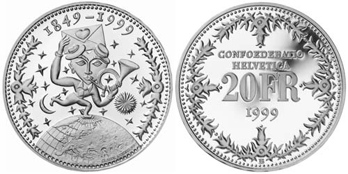 20 francs 150th anniversary of the Swiss Federal Constitution - 1999 - Series: Silver 20 francs coins - Switzerland