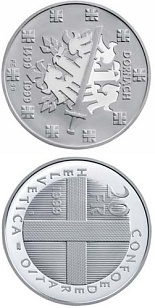 Image of 20 francs coin – Battle of Dornach | Switzerland 1999.  The Silver coin is of Proof, BU quality.