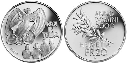 20 francs Pax in Terra, 2000 years of Christianity - 2000 - Series: Silver 20 francs coins - Switzerland