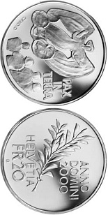 Image of 20 francs coin – Pax in Terra, 2000 years of Christianity | Switzerland 2000.  The Silver coin is of Proof, BU quality.